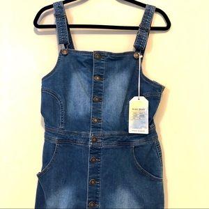 NWT Wax Jeans overalls denim raw hem jean dress
